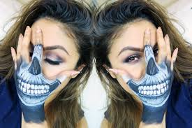 how to skull hand face makeup tutorial