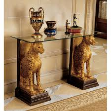 Design Toscano Egyptian Wings Of Horus Grand Altar Console Table Design Toscano Royal Egyptian Cheetahs Sculptural Glass