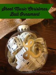 Sheet Music Christmas Ball Ornament that I made for my piano students!  Super easy!