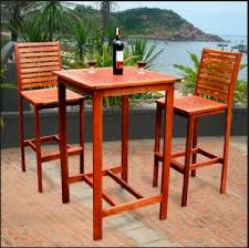 wood patio bar set. Dartmoor Wood 3 Piece Outdoor Bar Set With Table And 2 Within Prepare Patio N