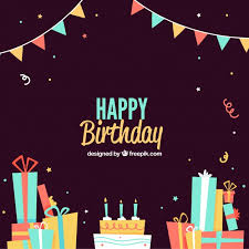 Dark Birthday Background With Gifts And Cake Vector Free Download