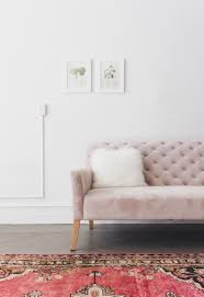 Pink velvet sofa Dusty Pink Dusty Pink Velvet Tufted Sofa With Oriental Rug Curated Interior 16 Chic Blush Pink Sofas How To Style Them