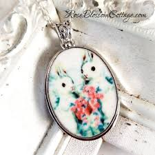 add to my lists bunny rabbits pair large oval broken china jewelry easter pendant necklace