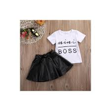 new 2pcs toddler kids girl clothes set summer short sleeve mini boss t shirt tops leather skirt outfit child suit new color as show kid us size 2t