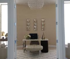 Wallpapered office home design Dining After Designs Of The Interior The Curved Wall Became The Backdrop And Focal Point In The Room Wallpapered And Adorned With Slender Vertical Mirrored Art Designs Of The Interior Interior Design Westlake Village Window Treatments Thousand Oaks