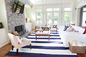 blue and white striped rug pottery barn