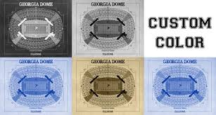 Print Of Vintage Georgia Dome Seating Chart Seating Chart On Photo Paper Matte Paper Or Canvas