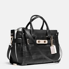 ... Coach Swagger In Croc Embossed Leather in Metallic Lyst Coach In  Monogram Medium ...