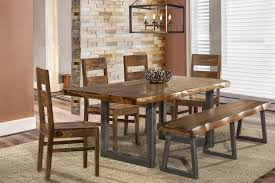 rectangle kitchen table set. Hillsdale Emerson 6-Piece Rectangle Dining Set With Bench - Natural Sheesham Kitchen Table U