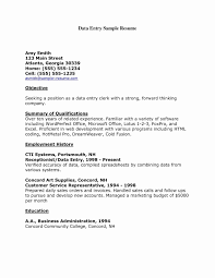 Sample Resume Of Data Entry Clerk Valid Curriculum Vitae Samples For