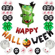 Elenxs <b>Halloween Balloons</b> Set Monster Head Balloons Happy ...