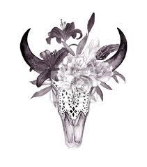 Fototapeta Akvarel Býčí Hlava S Květinami A Peří Boho Styl Print Pro Tetování