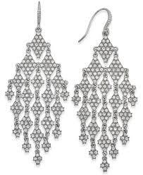 inc international concepts women s metallic silver tone crystal chandelier earrings