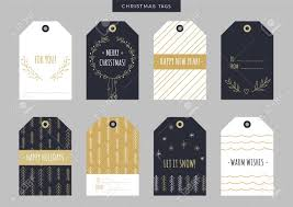 Set Of Gold Christmas And New Year Holiday Gift Tags Labels