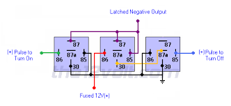 latched on off output using two momentary positive pulses negative latched on off output using two momentary positive pulses negative output 3 relays relay wiring diagram
