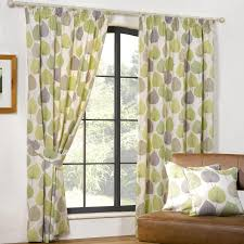 interior white fabric window curtains with green and purple leaves on stainless steel hook
