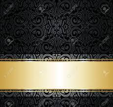 Zwart En Goud Vintage Behang Royalty Vrije Cliparts Vectoren En