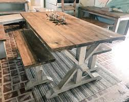 white farm table. Rustic Pedestal Farmhouse Table With Benches Provincial Brown White Distressed Base Dining Set Farm N
