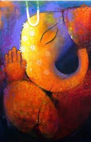 ganesha ganapati elephant abstract art mixed media painting contemporary art