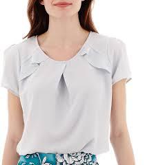 Jcpenney Worthington Short Sleeve Ruffle Shoulder Blouse