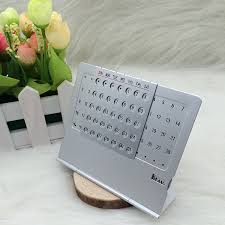 perpetual calendar mini aluminium alloy stand table calendar office desktop planner flip monthly desk calendars in figurines miniatures from home