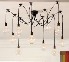 exposed lighting. spread the lights out from a single canopy for chandelieresque effect exposed lighting