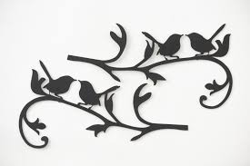 metal bird wall art hand drawn and laser cut metal wall art pair of birds on filigree branches