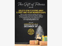 gold s gym ord is giving away 5 free gym memberships this holiday season
