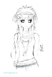 Emo Girl Coloring Pages Cute Anime Pag Seaahco