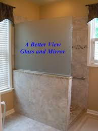 saten glass shower glass wall screen for privacy installed on knee wall