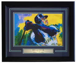 leroy neiman ken griffey jr 16x20 custom framed print display at pristineauction