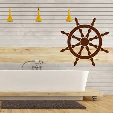 ships wheel wall sticker nautical decal bathroom home decor ship stickers greece art cruise ship
