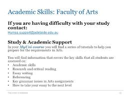 studying at the university of adelaide expectations roles  23 academic skills