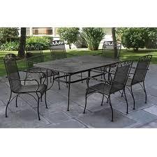 7 piece patio dining set wrought iron outdoor garden furniture sets mesh black
