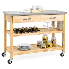best choice s 3 tier wood rolling kitchen island utility serving cart w stainless