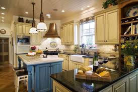 yellow country kitchens. Contemporary Blue And Yellow Country Kitchen With French Kitchens On