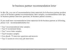 hr cover letters hr business partner recommendation letter