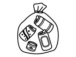 ゴミ袋に入った空き缶の白黒イラスト かわいい無料の白黒イラスト モノ