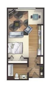 One of the many studio floor plans we offer. Rents for $720-$750. Small  Apartment ...