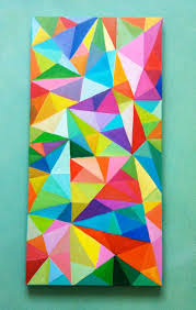 abstract painting colored triangles acrylic painting blue red yellow green pink orange colors