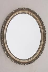 large oval mirror w vintage style distressed antique silvery bronze