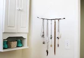 Jewelry organizers made out of twigs.