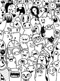 Art Doodle Hand Drawn Aliens And Monsters Cartoon Doodle 3 Art Print