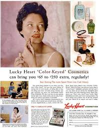 lucky heart cosmetics adver african american vine makeup 1950s 1960s