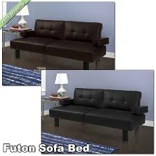 details about futon sofa bed leather faux modern couch sleeper mainstays convertible loungers