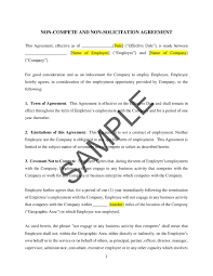 Non Compete Agreement For Employees