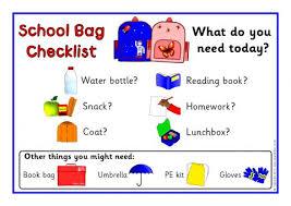 Checklist For School School Bag Checklist Posters Sb5830 Sparklebox