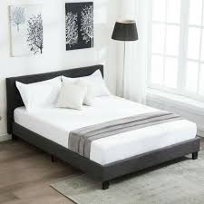 Queen Size Platform Bed Frame Upholstered Gray Linen Headboard with Wood Slats
