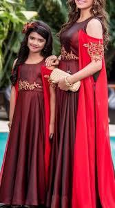 Designer Dresses For Mother And Daughter Maroon Silk Designer Mother And Daughter Set Wj028011