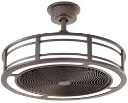 modern indoor outdoor ceiling fan bronze drum enclosed led light